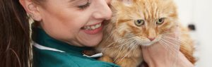 Veterinary nurse smiling with cat