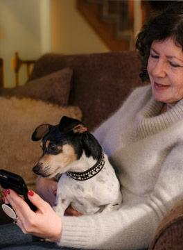 lady with dog on sofa